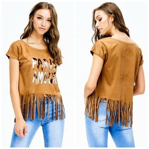 NEW! Faux Suede PARIS AMOUR Graphic Tee w/ Fringe